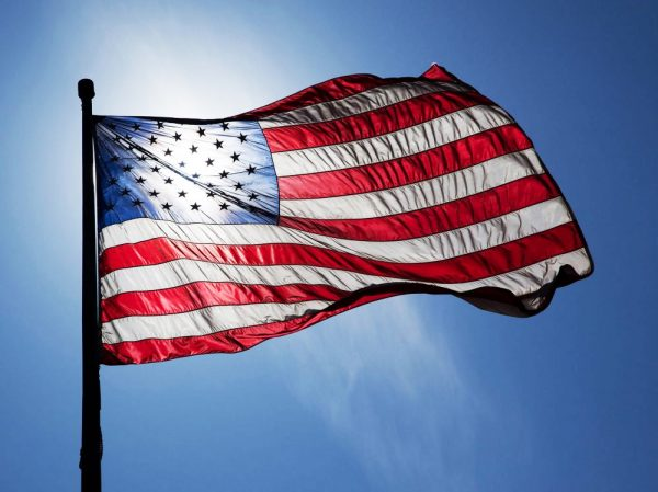veteran american flag waving