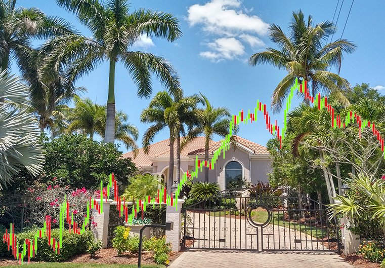 Florida real estate with prices overlay.