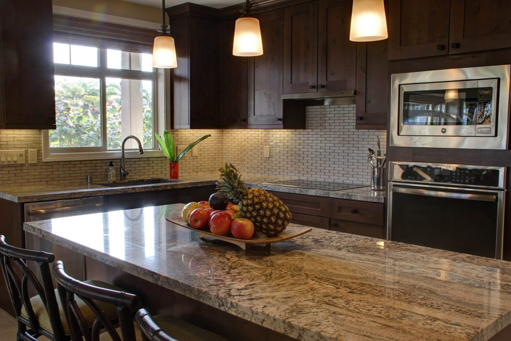 Granite counters upgraded in kitchen.